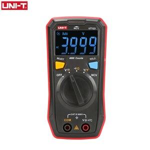 UNI-T Auto Range Mini Digital Multimeter Temperature Tester UT123 Data hold AC DC Voltmeter Pocket Voltage Ampere Ohm Meter(China)