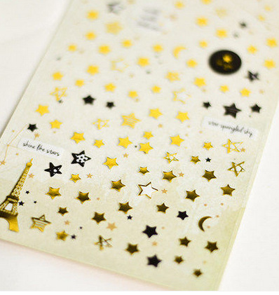 DIY Decoration Antique Gold  Stamping Stickers Scrapbooking Twinkle Little Star Moon Paris Eiffel Tower Stickers