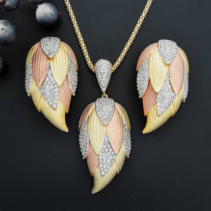 ModemAngel Tulip Flower Shape Newest Three Tones Colors Zircon Jewelry Sets Pendant Necklace Earrings For Women