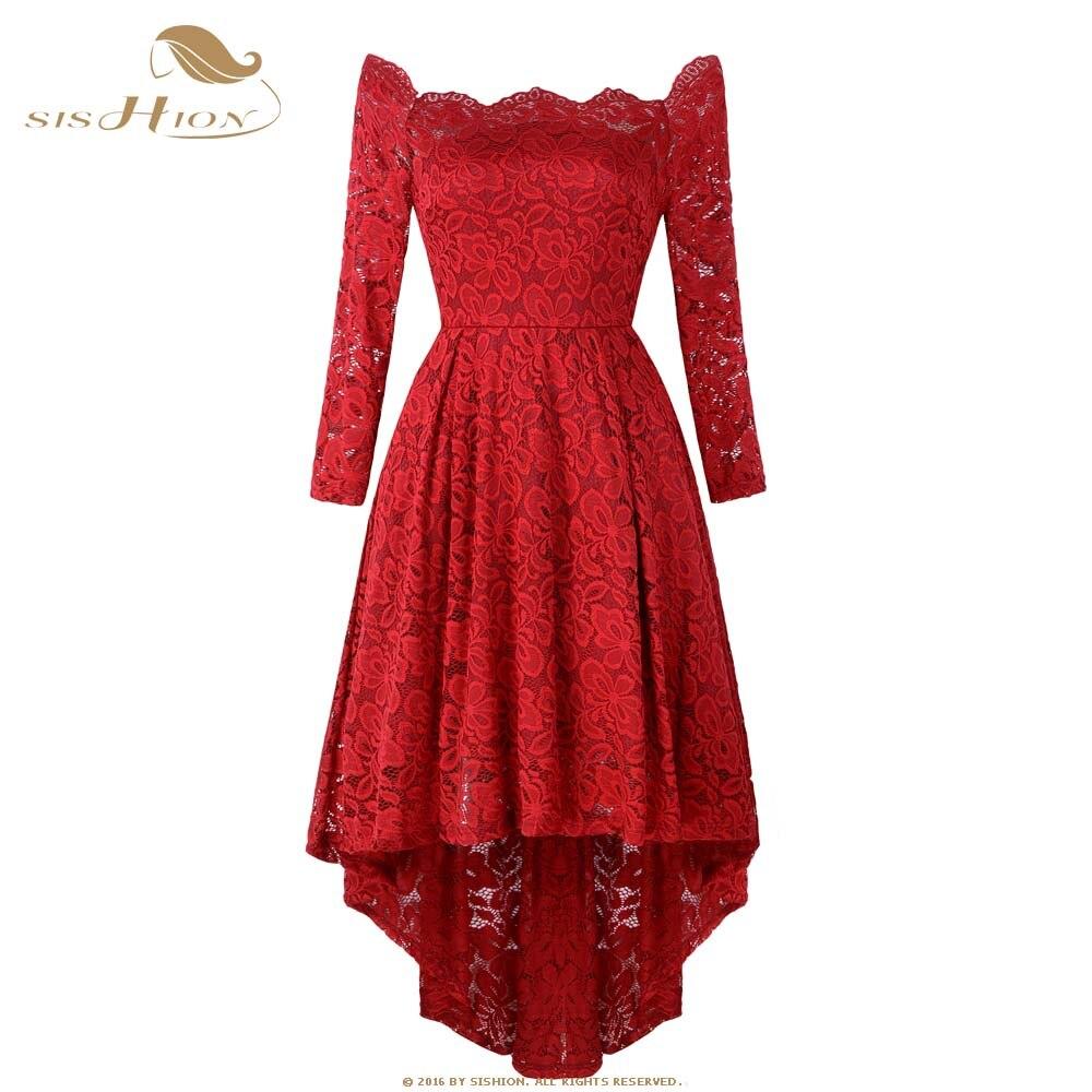 SISHION longue dentelle robe 2019 printemps nouveau à manches longues élégant partie Sexy asymétrique Midi noir violet rouge robe AY8108