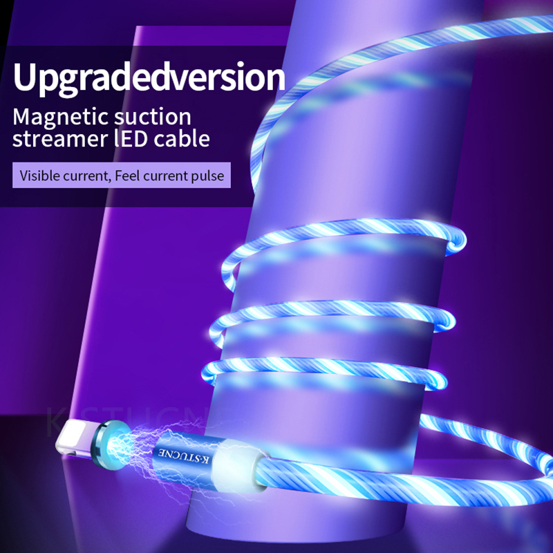 Magnetic LED Light USB Type C Fast Charging Data Cable For iPhone 7 8 XS XR Max Charger USB Cable For XiaoMi Huawei Smart phone in Mobile Phone Chargers from Cellphones Telecommunications
