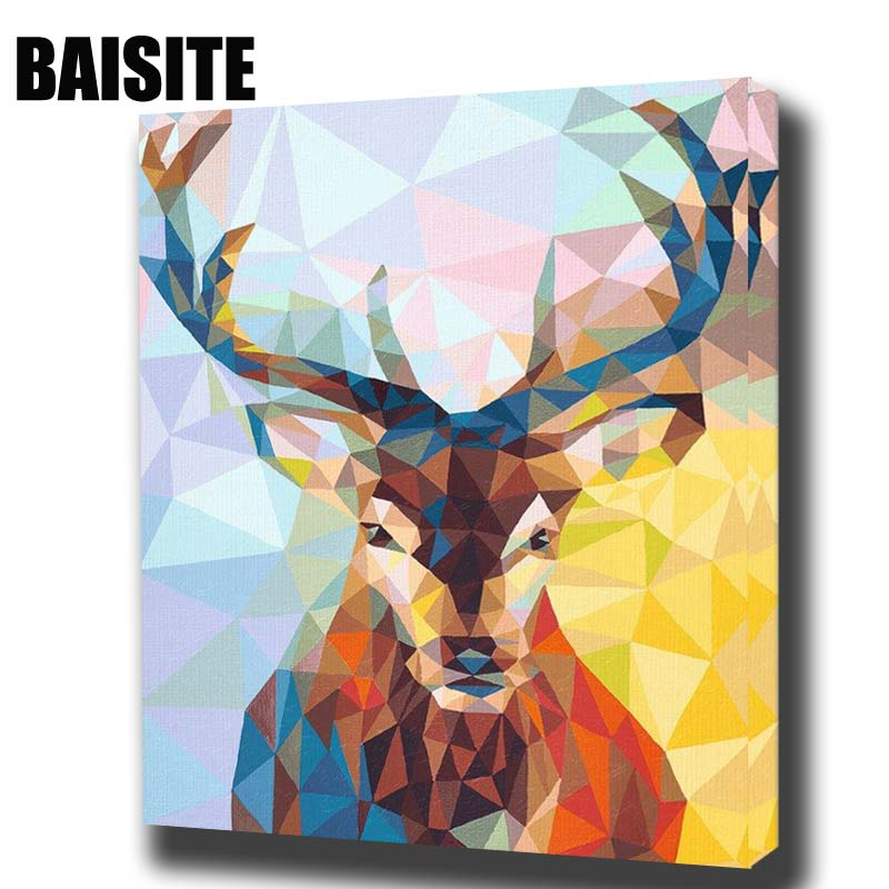 BAISITE DIY Framed Oil Painting By Numbers Animal Pictures Canvas Painting For Living Room Wall Art Home Decor E776