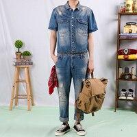 2019 New Retro Brand Fashion Detachable Men Denim Jumpsuit Male One piece Suit Men High Quality Jeans Men's Denim Overalls M 2XL