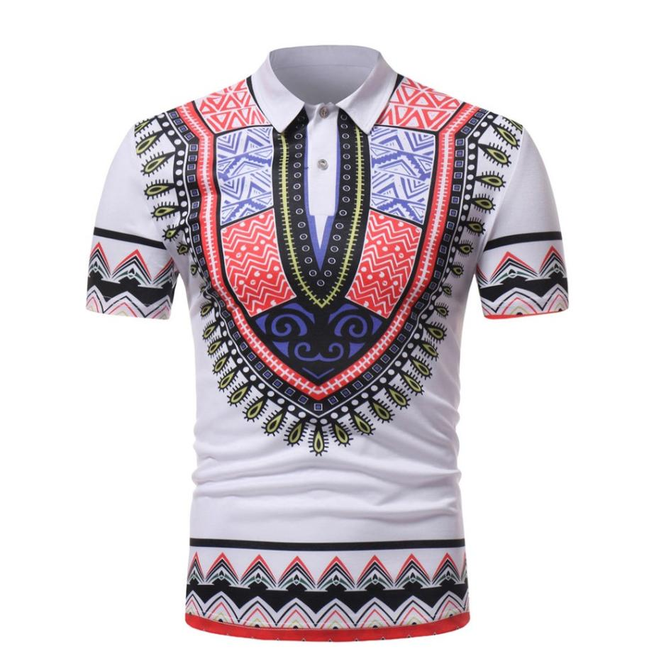 New Fashion Mens POLO Shirt African Style Slim Fit Short Sleeve Printed Tee T-shirt Casu ...