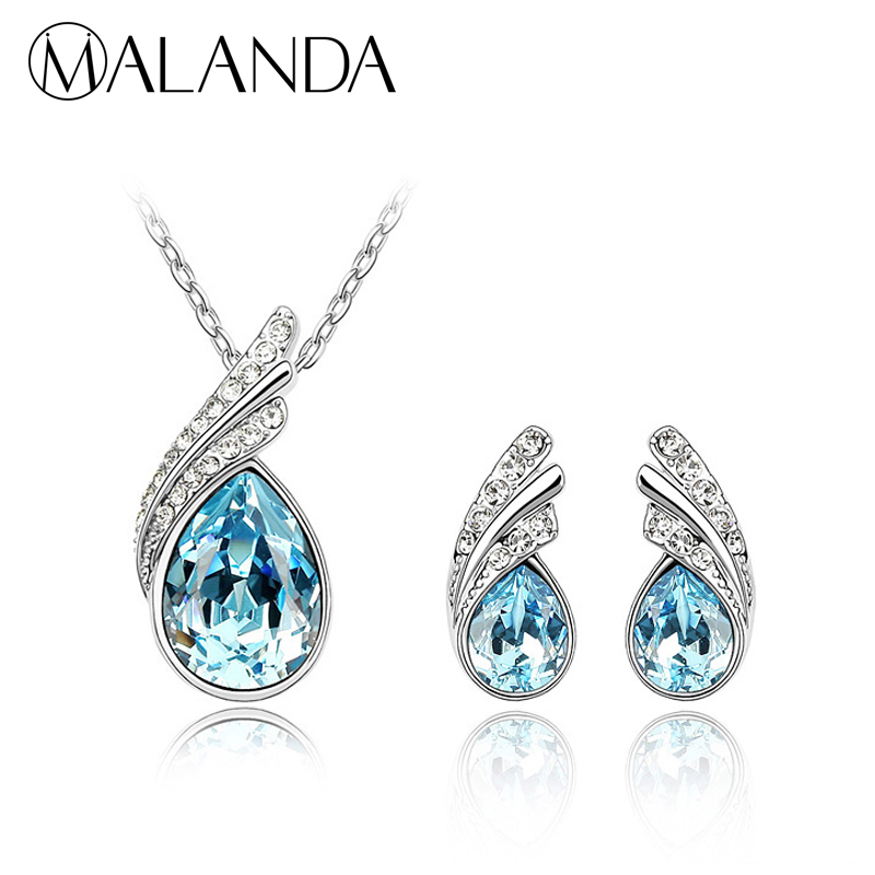 MALANDA Brand New Original Crystals From Swarovski Drop Pendant Necklaces Earrings For Women Fashion Wedding Luxury Jewelry Sets joyashiny crystals from swarovski classic romantic heart pendant necklaces drop earrings jewelry sets for women lovers gift