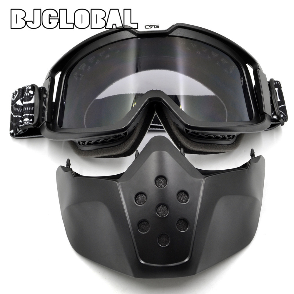 BJGLOBAL Motorcycle Face Mask Dust Mask Detachable Motocross Goggles Mouth Filter For Modular Open Face Vintage Helmets