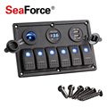 6 Gang Interruptor Boat Rocker Switch Panel LED USB Marinos Panel de interruptores de Doble USB Encendedor Interruptor Del Voltímetro Del Coche Panel