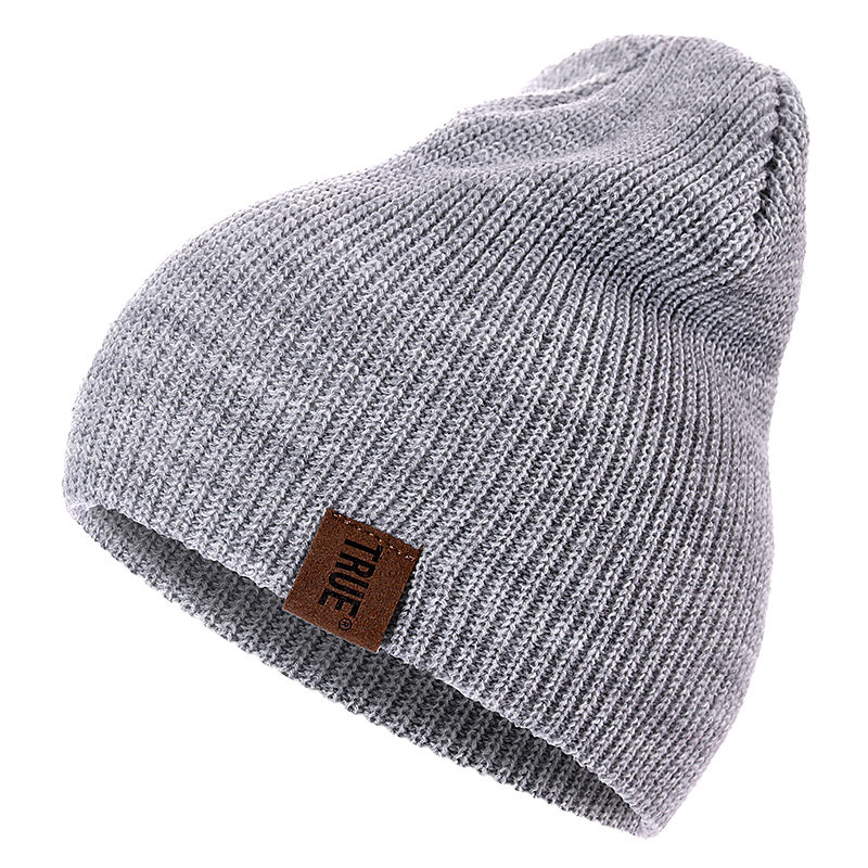 7 Colors PU Letter True Casual   Beanies   for Men Women Girl Boy Fashion Knitted Winter Hat Solid Hip-hop   Skullies   Hat Unisex Cap