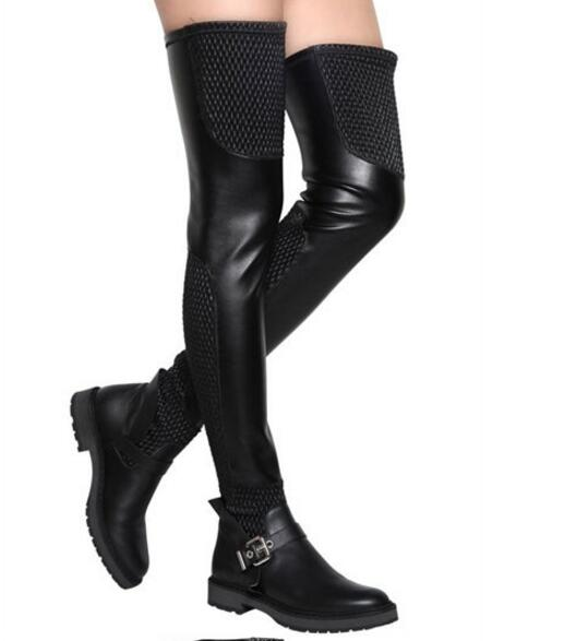 0358b4cd76 Otoño Invierno cuadrado talón plano negro cuero elástico botas largas  hebilla Correa muslo botas altas para