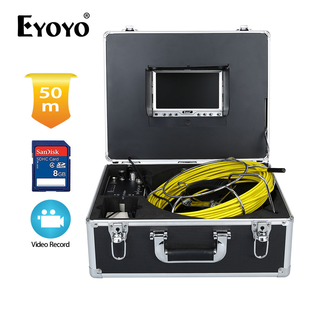 Eyoyo 1000TVL 50M 7 HD LCD Pipe Wall Video Inspection Sewer Drain Camera DVR Recorder 8GB SD Card 4500mAh Battery аксессуар чехол накладка asus zenfone c zc451cg skinbox 4people black t s azc 002 защитная пленка