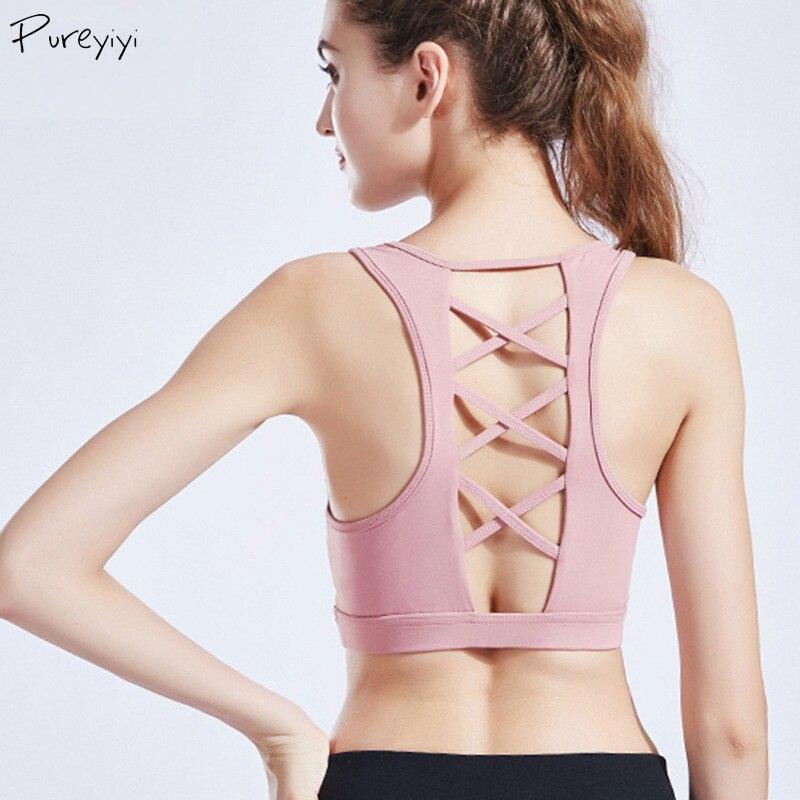 ①  Спортивный бюстгальтер для тренировок Yoga Crop Tops Sexy Bacl выдалбливают спортивную одежду против ★