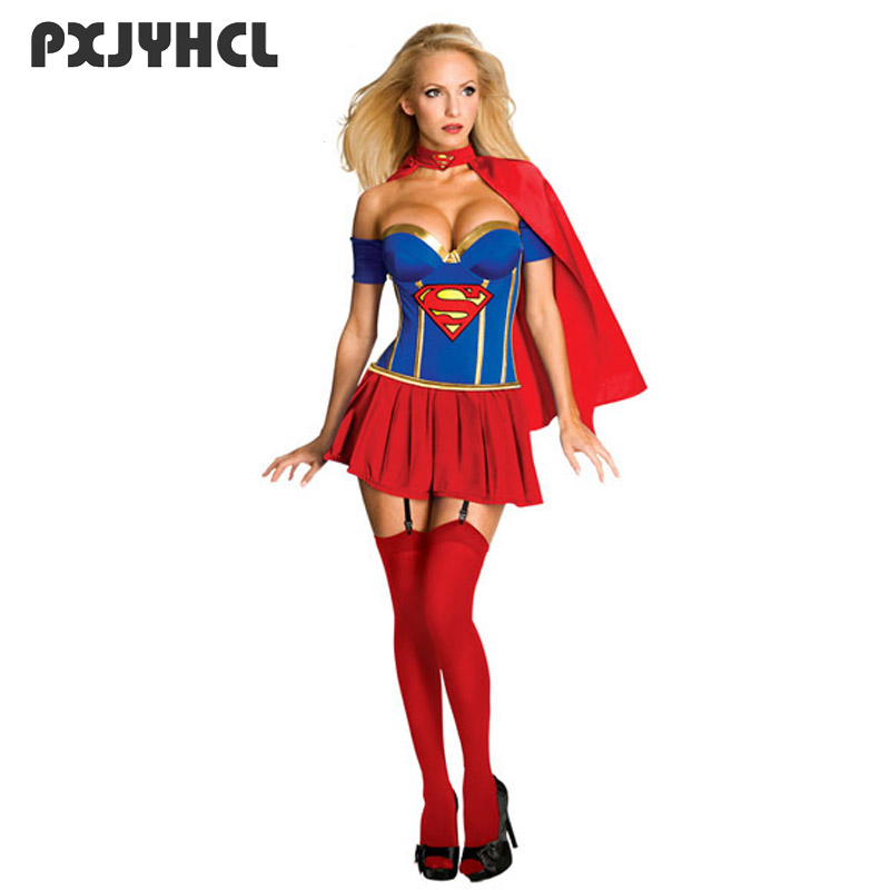 Sexy Slim Superwoman Halloween Cosplay Costume Wonder Woman Costume Sleeveless Dress Carnival Featival Party Adult Uniforms