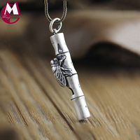 Fashion Men Women Choker Real Whistle Necklace Pendants Girls Ethnic Bamboo Leaves Animal Jewelry Valentine's Day Gifts SP66