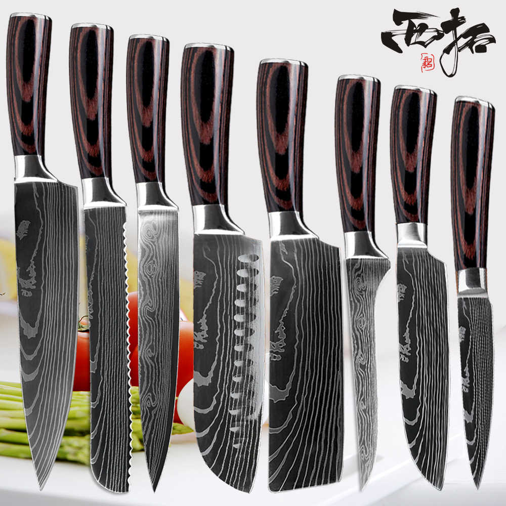 XITUO Chef Kitchen Knife Set 8 in Professional Japanese Chef Knives 7CR17 440C High Carbon Stainless Steel Slicing Santoku Knife