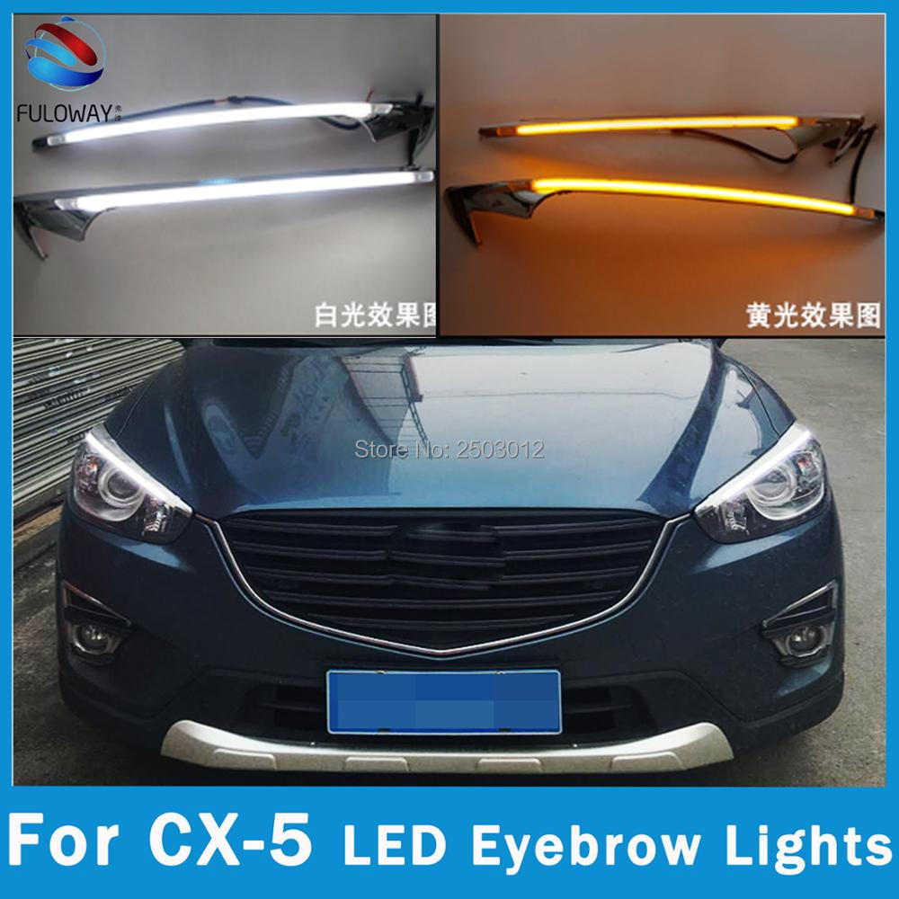 For Mazda cx-5 cx5 2012-2015 DRL Car LED EyeBrow Brow Lights Head Daytime Running Light Turn Signal Style Relay 12V Accessories 1 pair car led lights 12 24v drl head lights 8w turn light strip