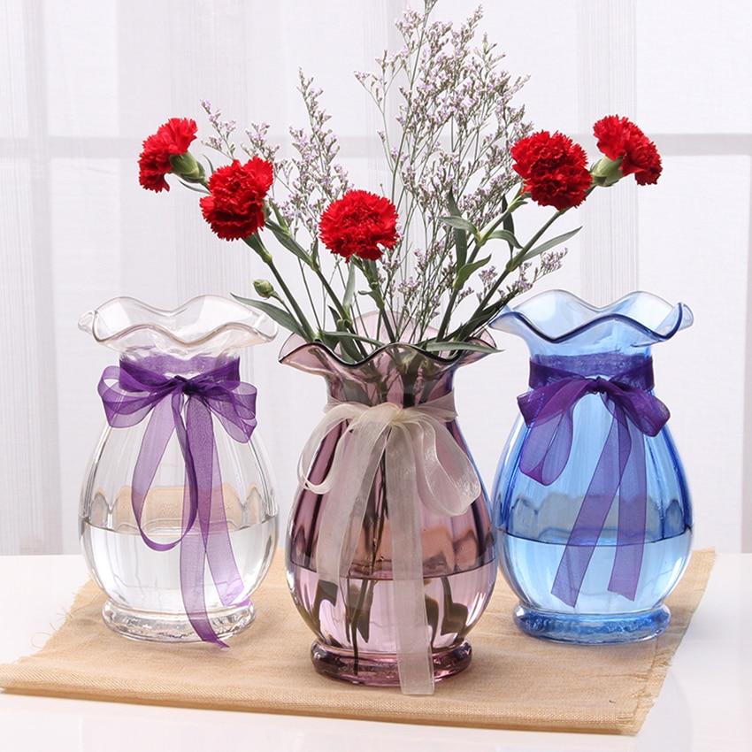 Europe glass vase Coloured transparent vases Home decor crafts Hydroponic Container Flower pot vase for wedding decoration