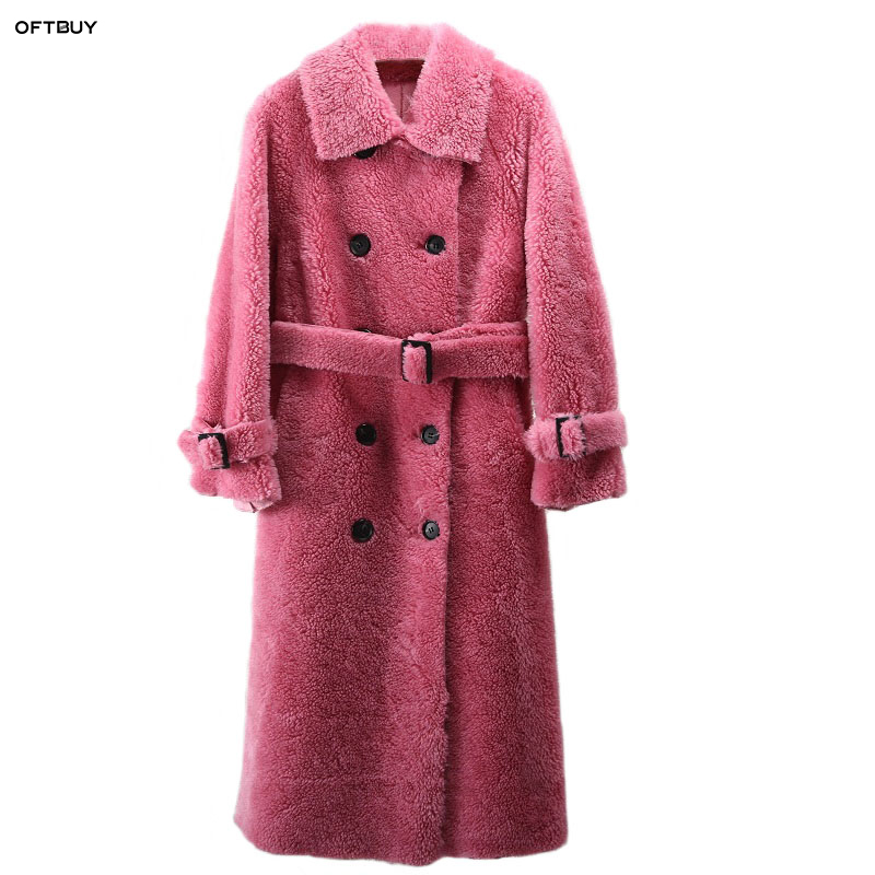 OFTBUY 2019 Winter Coat Women Windbreakers Natural Wool Lamb Fur Sheepskin Faux Leather Long Trench Coat Double-breast Jacket