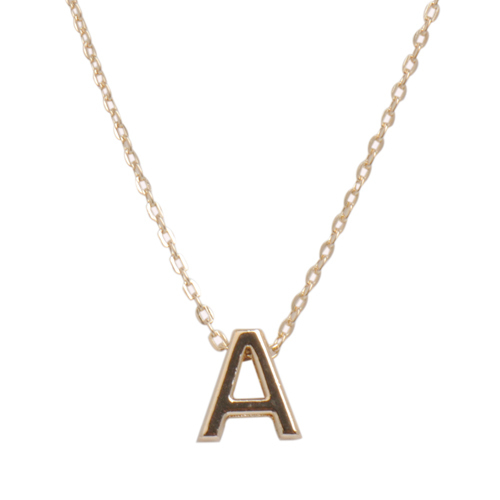 47102e31a916 AOLOSHOW Womens gold-color Tiny initial letter necklace simple 26 letters  alphabet clavicle gold chain necklace nl-2321