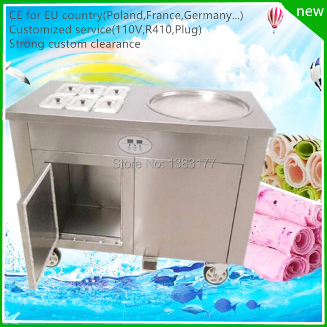 free air ship CE R410 thailand flat square pan fried ice cream roll machine Stainless steel Ice Pan Machine roll ice cream maker ce fried ice cream machine 60 60cm pan thailand ice cream roll machine flat pan stainless steel fry ice cream rolls machine