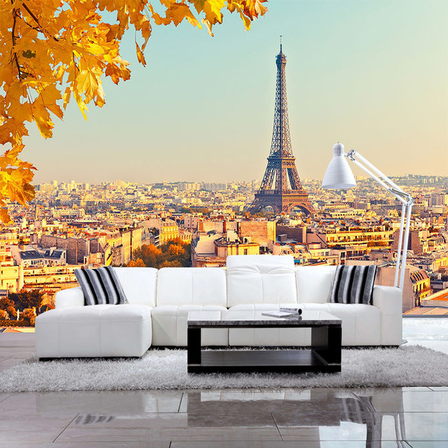 Custom Mural Wallpaper 3D Eiffel Tower Maple Leaf Photo Wall Murals