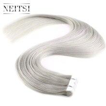 """Neitsi мини Клейкие ленты в Пряди человеческих волос для наращивания прямо машина сделала Реми уток кожи волос 20 """"2.0 г/шт. Grey4 #60 #613 #18 К # светло Цвет"""