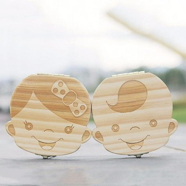 Wooden baby milk teeth box baby souvenirs fetal hair tooth collection wooden case