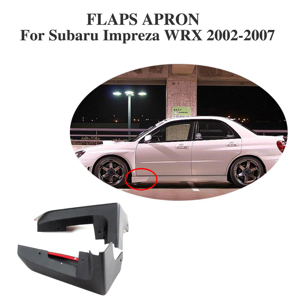 Front Side Skirts Splitters Apron Flaps Strake Covers For Subaru Impreza WRX 2002-2007 PU Unpainted Black цена 2017