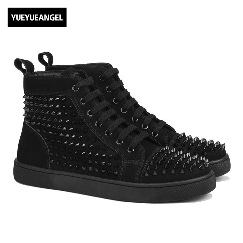 Brand Fashion Mens High Top Casual Shoes Lace Up Rivet Hip Hop Style Sneakers Male Streetwear Luxury Genuine Leather Shoes Red euramerican style baggy hip hop men jeans widened increase skateboard pants comfortable mid waist casual mens streetwear jeans