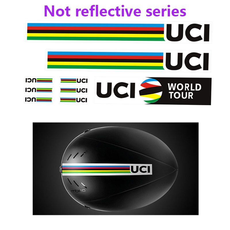 Tour de France Helmet stickers for road bike bicycle UCI world champion rainbow stripe replacement decals Non-reflective version