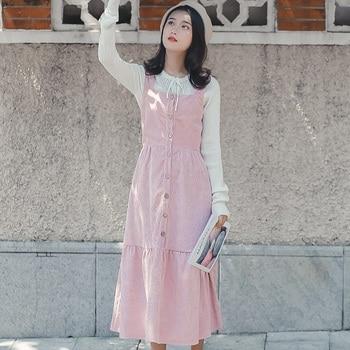Mori Fille Automne Hiver Femmes Robe Longue Bretelles Bretelles Kaki Rose Lolita Style Robe De Fête Élégant Kawaii En Velours Côtelé À Volants Robe fille