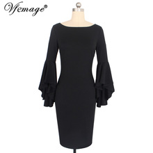 Vfemage Women Autumn Winter Elegant Long Flare Bell Sleeve Fashion Vintage Pinup Formal Party Cocktail Bodycon Sheath Dress 8350