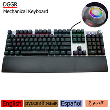 цена на AULA/DGGR 107 Keys Gaming Mechanical Keyboard Wrist Support USB Wired Lights LED Backlit Ccomputer Keyboard Gamer Russian custom