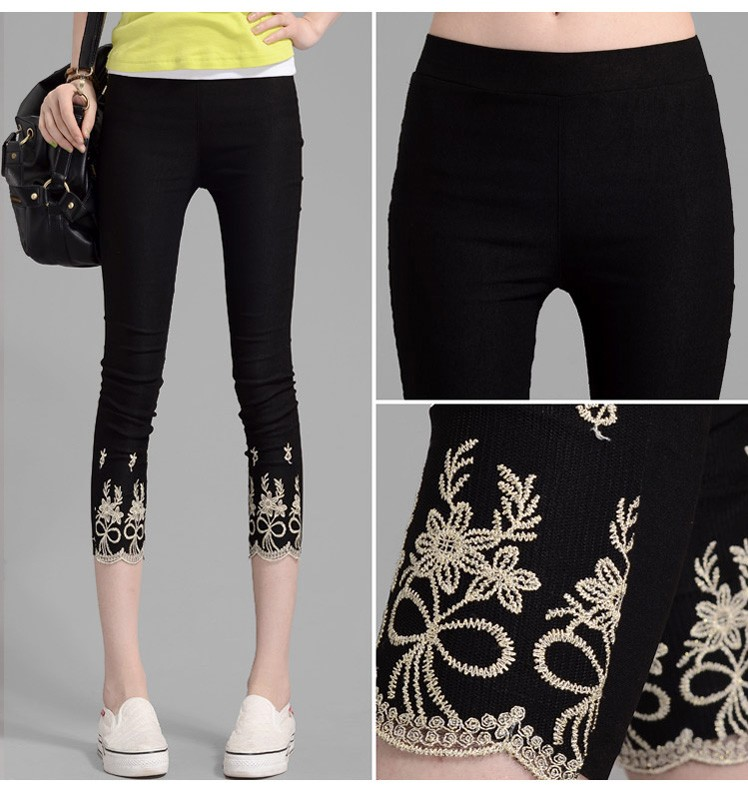 7f88170258 lady summer large size XL thin cotton blend capris large slim fitted short  Embroidery pants women black white pencil leggings -in Pants   Capris from  ...