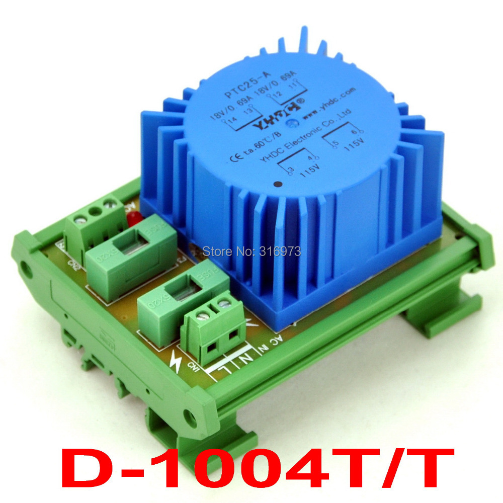 P 230VAC, S 18VAC, 25VA DIN Rail Mount Toroidal Power Transformer Module.