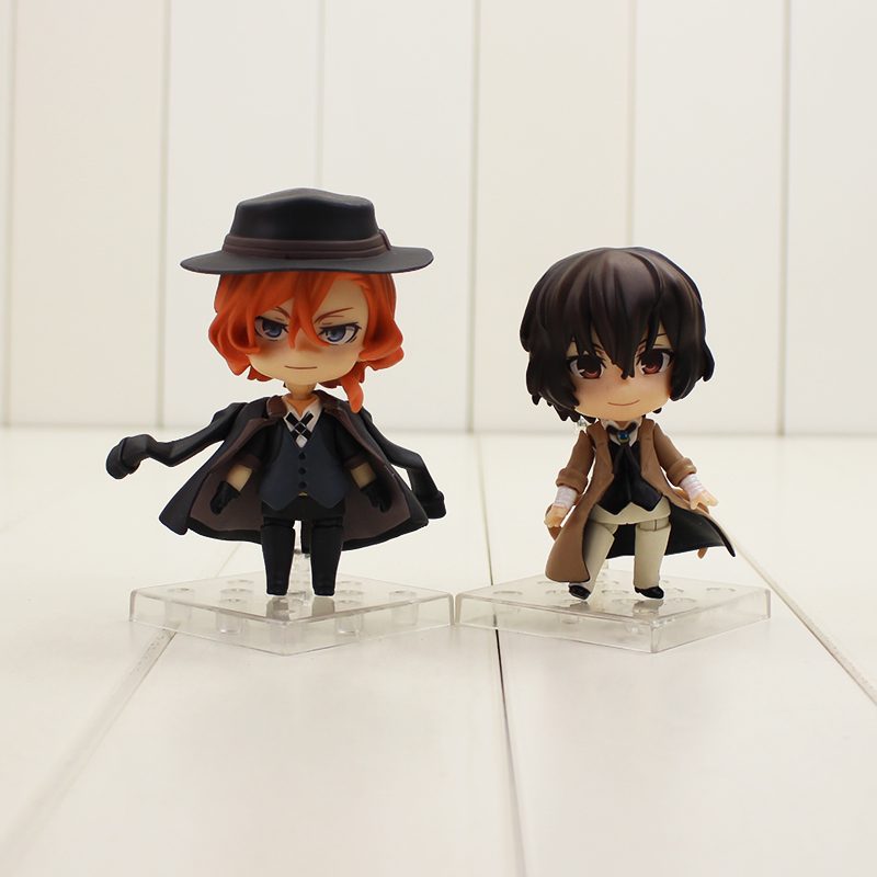 9cm Bungo Stray Dogs Figure Toys Dazai Osamu Nakahara Chuya PVC Action Figure Q Version 657# 676# Model Toys For Kids Gifts