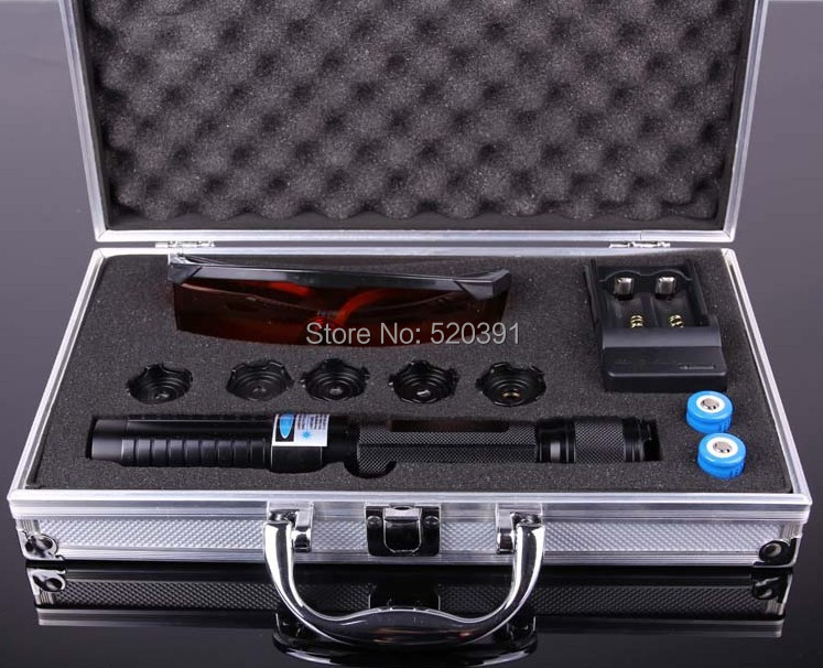 Strong Military Blue Laser Pointers 20000mw/20W 450nm Burning Match/Balloon/Dry wood/Cigarettes+5 Caps+Glasses+Changer+Gift Box new green laser pointers 20000mw 20w 532nm adjustable burning match changer box free shipping camping signal lamp hunting