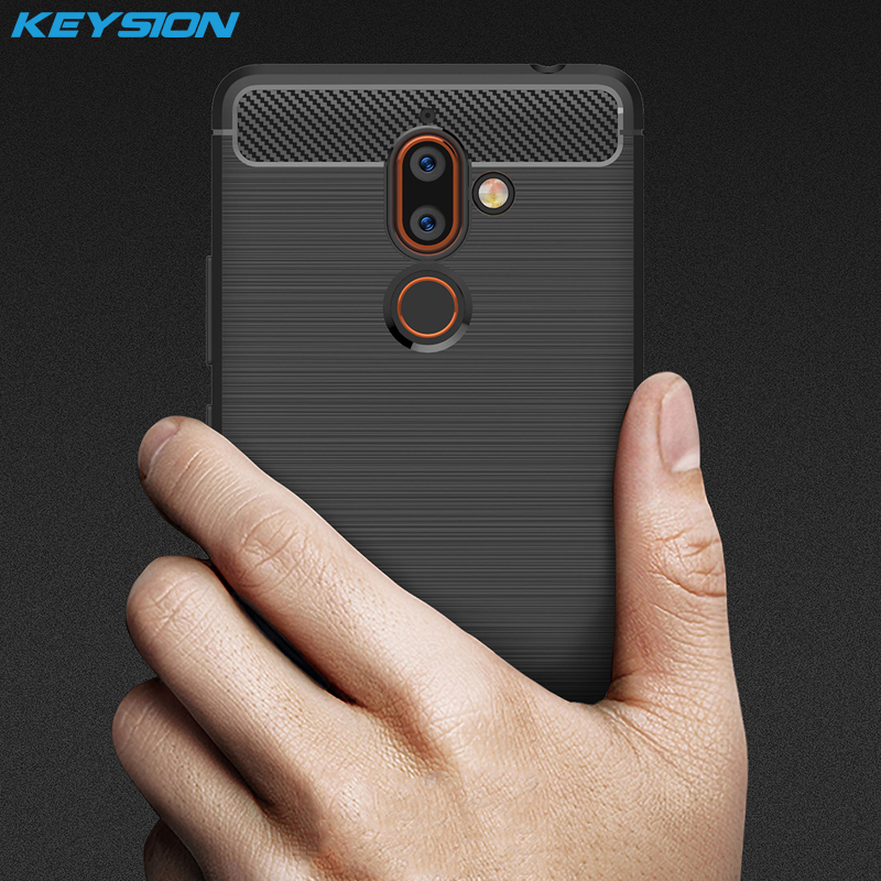 KEYSION Phone-Case Carbon-Fiber Plus Nokia Back-Cover Anti-Knock Silicone For 7-7.1/Plus/9/..