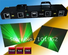 5 tunnel Laser Light 50mW Green + 200mW Red laser + 150mW Yellow laser + 100mW Blue laser for disco party DJ equipment