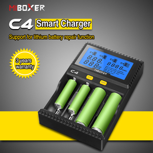 Image 1 - 100% oriMiboxer C4 VC4 LCD Battery Charger for Li ion/IMR/INR/ICR/LiFePO4 18650 14500 26650 AAA 4.2 3.7 1.2V 1.5V Batteries