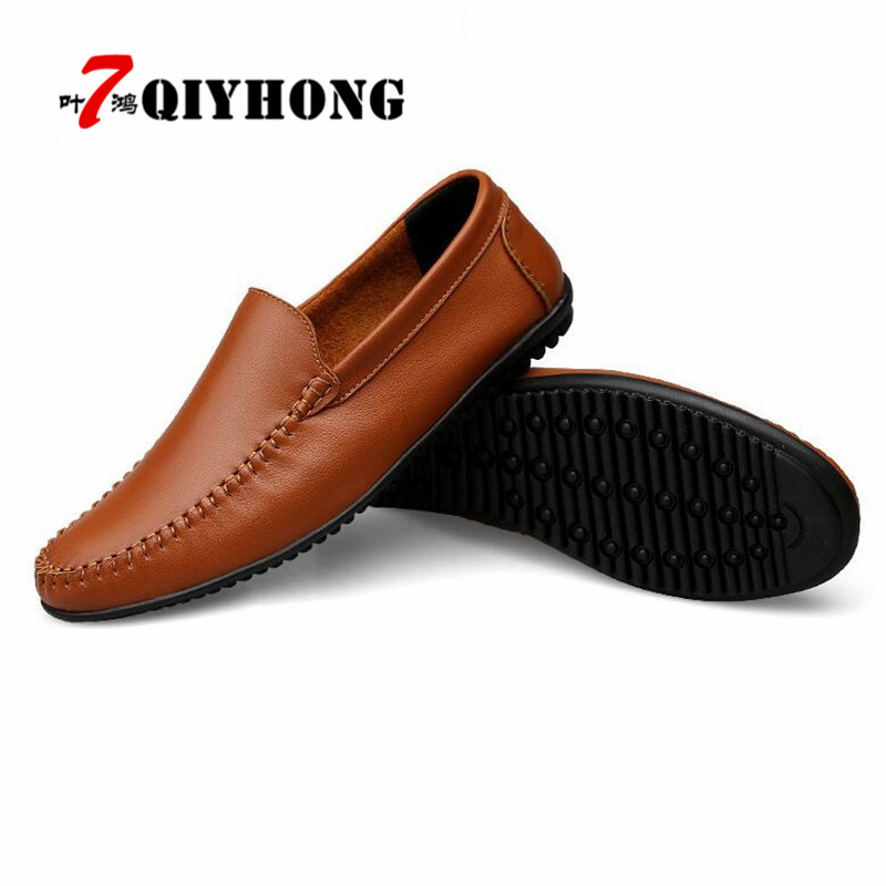 QIYHONG Autumn New High Quality Men Genuine Leather Shoes Mens Fashion Flat Shoes Slip-On Male Casual Footwear Big Size 37-47 slip on men casual shoes male sandal new fashion genuine leather low heel high quality brand korean style thick bottom plus size