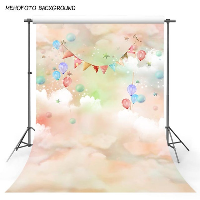 Photography Background fantasy land Clouds Colorful Balloons Baby shower Birthday Newborn Children Backdrops for Photo Studio