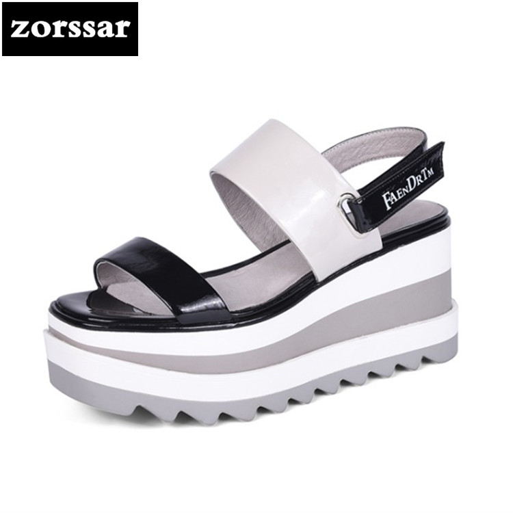 {Zorssar} 2018 New Genuine Leather Wedges Women Sandals Summer Shoes Open Toe platform High heels woman Roman Gladiator Sandals nemaone new 2017 women sandals summer style shoes woman platform sandals women casual open toe wedges sandals women shoes