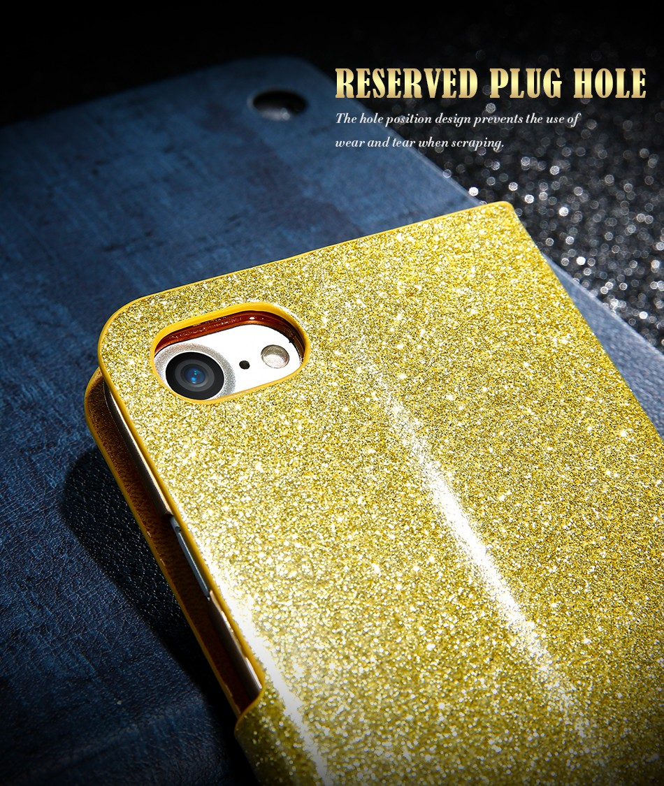 FLOVEME Luxury Bling Diamond Glitter Flip Case for Apple iphone 6 6S 7  Plus 5.5 Leather Girl Bag Wallet Stand Rhinestone Cover (4)
