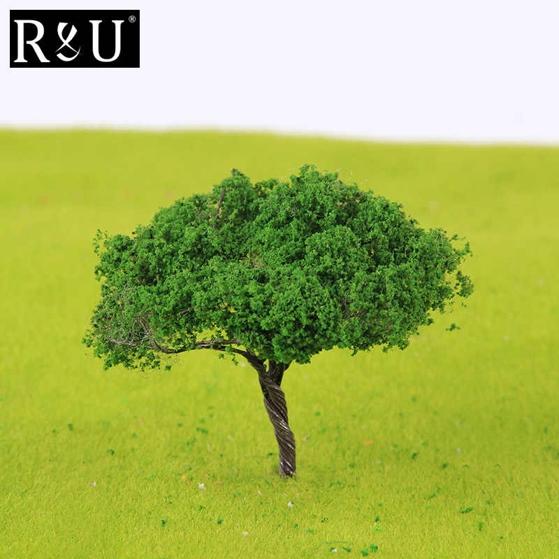 10PCS Diorama Model Green Trees For Miniature Train Ho Scale Railway  Railtrain Wargames Scenery Dioramic Layout Diy Kit Supplies