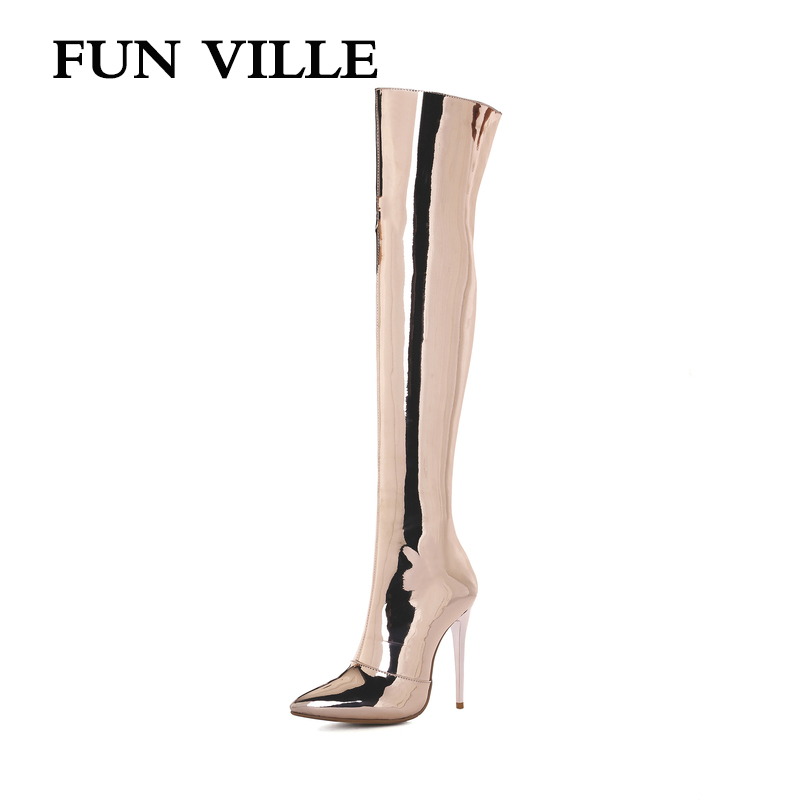 FUN VILLE 2018 New Sexy Women Over the knee Boots Autumn Winter High Heel Patent leather Pointed toe Lady botas shoes size 34-43 new fashion women shoes pointed toe patent leather lady high heel boots for women sexy over the knee boots nightclub pumps