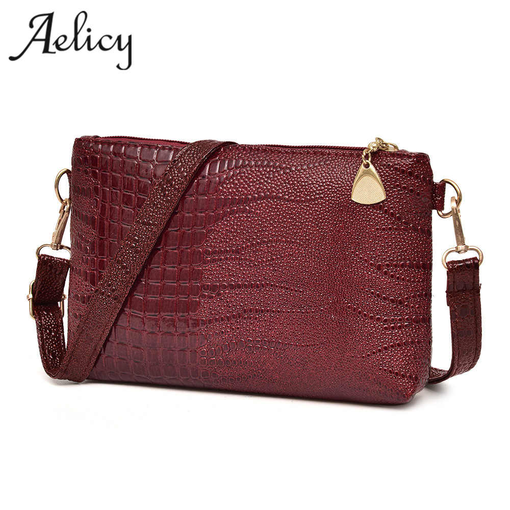 Aelicy Women Vintage Split PU Leather Bags Crocodile Pattern Envelope Shoulder Bag Ladies Small Messenger Handbag Female Gift 2017 fashion all match retro split leather women bag top grade small shoulder bags multilayer mini chain women messenger bags