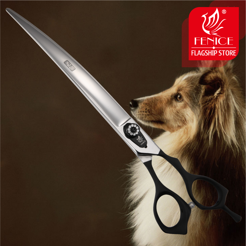 Fenice 7 5 9 0 inch Professional pet scissors for Dog Grooming Curved right hand shears