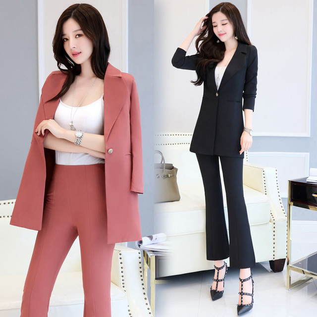El nuevo Pantalones de traje mujeres casual Oficina Trajes trabajo formal  Sets uniforme estilos elegante Pantalones 1d316c21e667