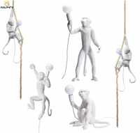 SELETTI Resin LED Pendant Light Resin White Monkey Hallway Pendant Lamp Studyroom Bar Cafe Industrial Decor Lighting Fixtures