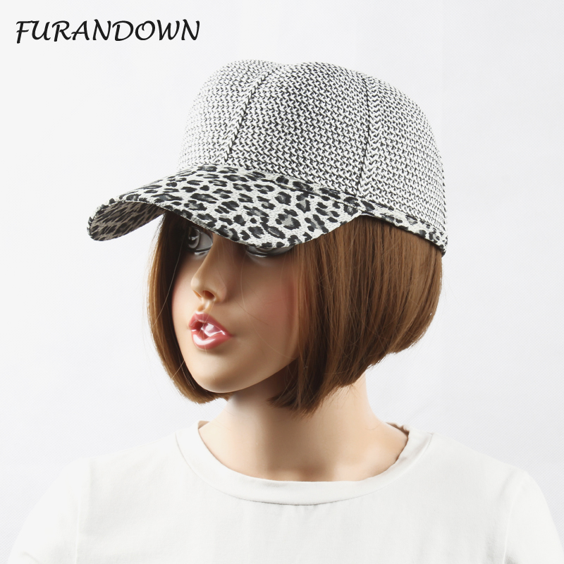 FURANDOWN New Summer Woven Paper Baseball Cap Women Leopard Snapback Hat For Women casquette gorras